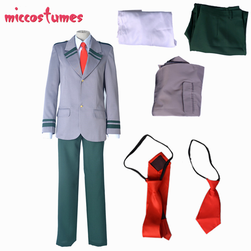 Todoroki School Uniform BNHA Male Uniform My Hero Academia Male Cosplay Costume School Uniform Long Tie and Short Tie Two Ties