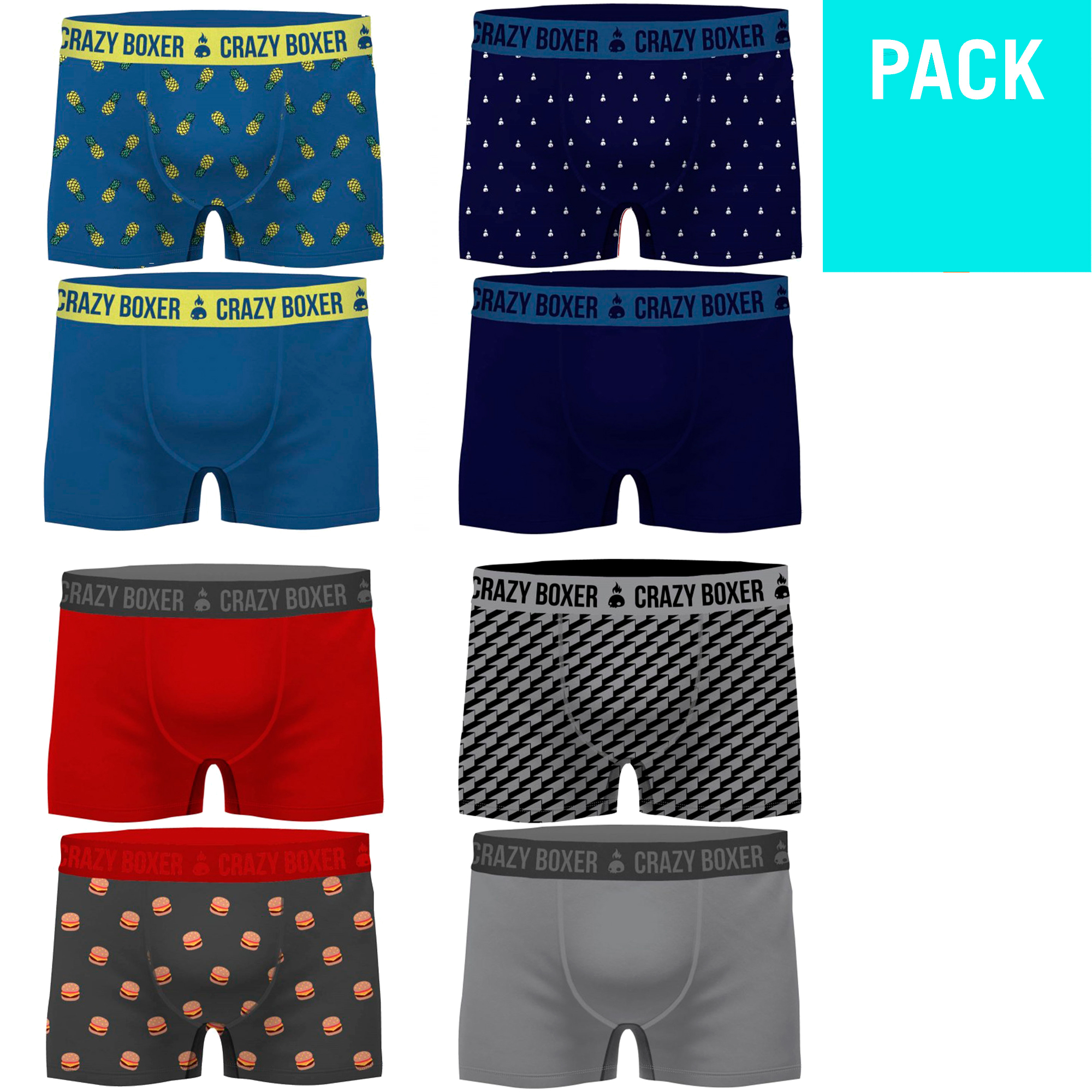 CRAZY BOXERS Pack 8 Or 2 Briefs Printed Fabrics In Various Models For Men In Cotton Biologico