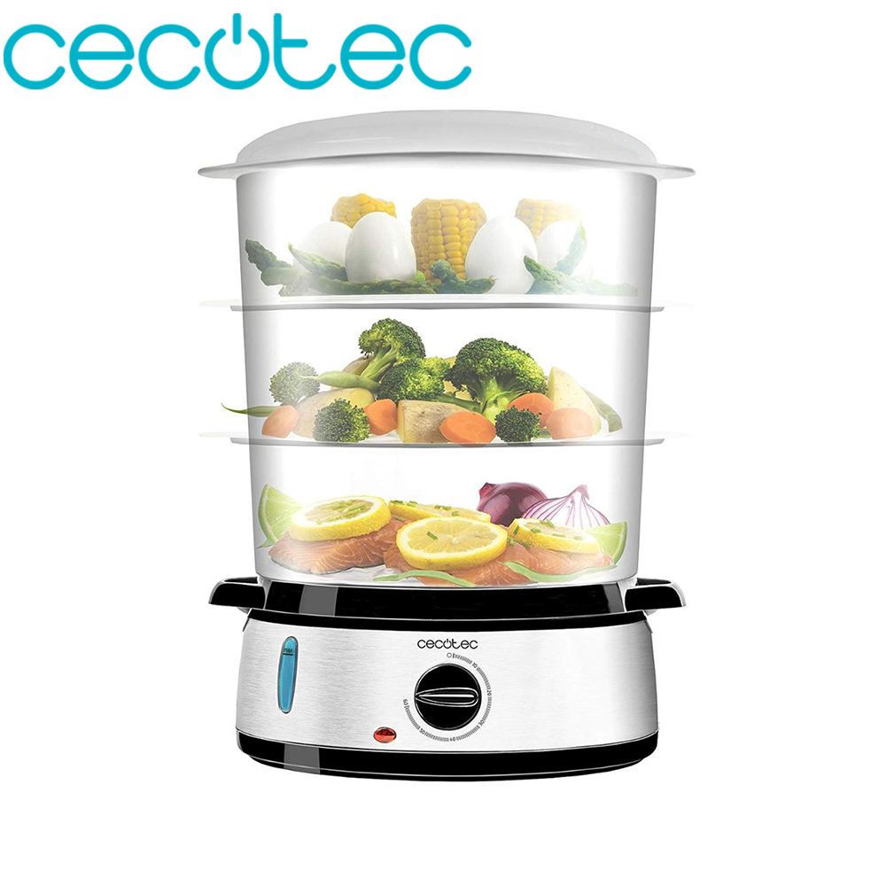 Cecotec Steamer Electric Vapovita 3000 Inox With 800 W, 3 Separate Containers, Singing Bowl Maker Rice And Stands.