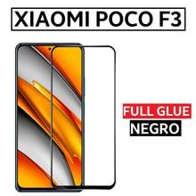 Protector Cristal Templado Pegamento Completo para XIAOMI POCO F3 Full Glue Negro 6.67