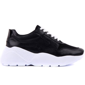 Sail-Lakers Genuine Black Leather Women's Sneaker Casual Sports Shoes Fashion Dad Shoes Platform Sneakers Femme Krasovki