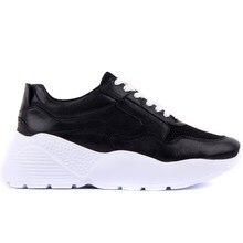 מפרש לייקרס אמיתי שחור עור נשים של Sneaker מקרית ספורט נעלי אופנה אבא נעלי פלטפורמת סניקרס Femme Krasovki