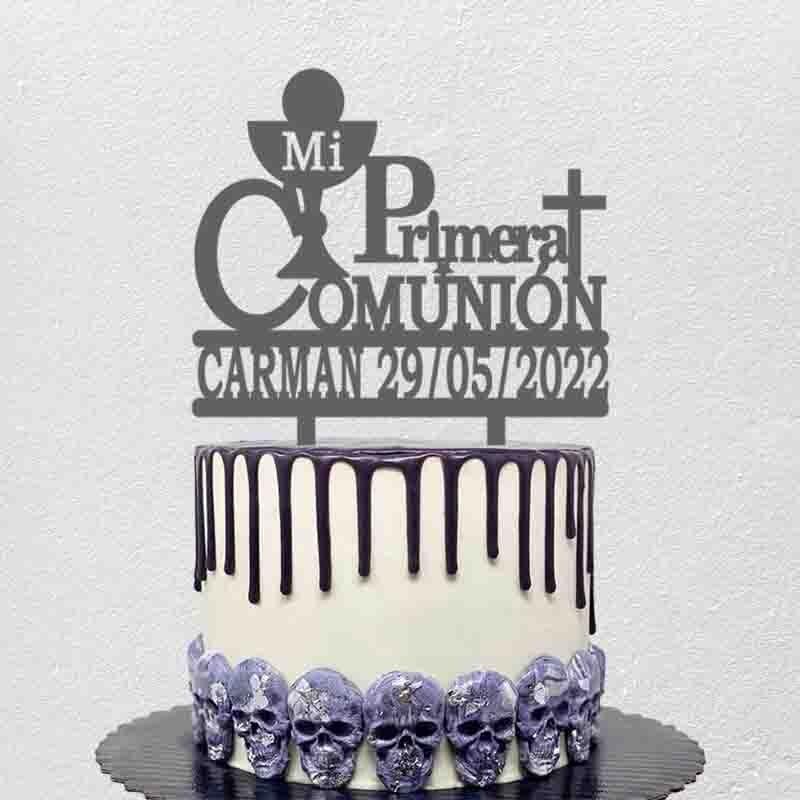 Personalized Spanish Communion Cake Topper Custom Kids Name Date Mi Primera Comunión For Communion Party Cake Decoration Topper