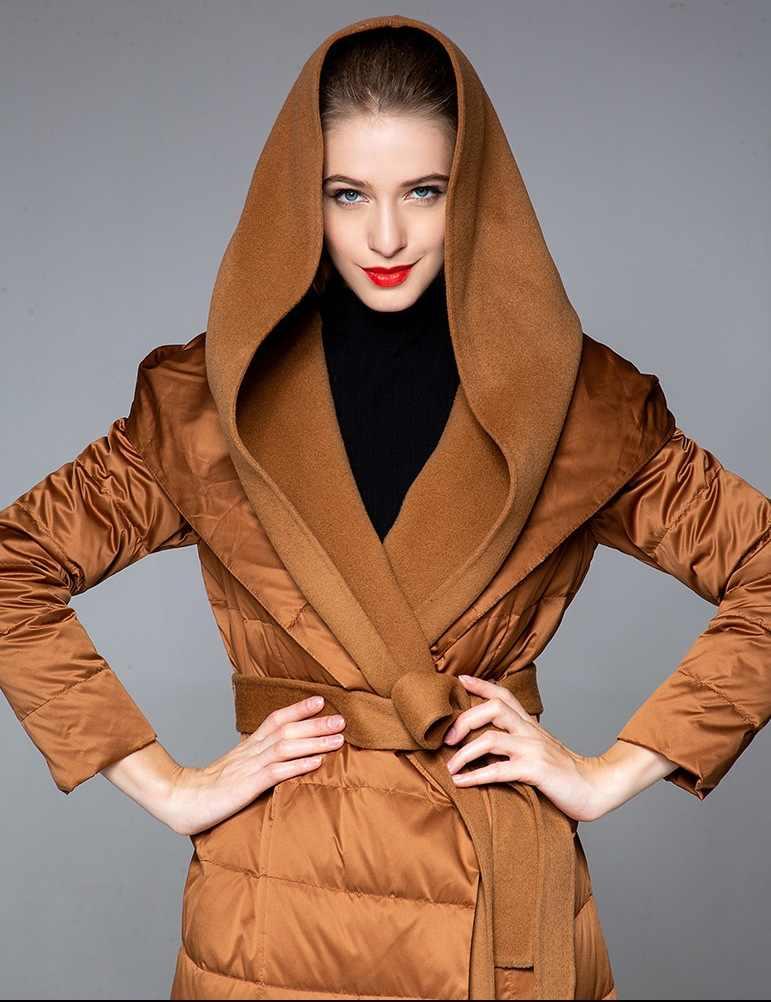 Obrix kaz tüyü yüksek sokak kadın ceket uzun kapşonlu kemeri tam kollu kaşmir Streetwear moda ceket kadınlar için