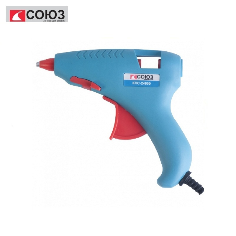 KPS-24600 Glue gun UNION 160 W, d7.2 mm, 8 g / min, 2 rods included, blister Bonding hard surfaces Filling construction joints
