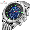 NAVIFORCE мужские часы Топ люксовый бренд мужские спортивные часы мужские кварцевые светодиодный цифровые часы мужские полностью стальные вое...