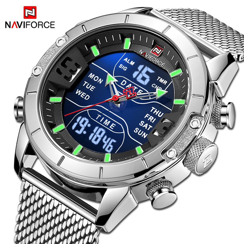 NAVIFORCE Mens Watches Top Luxury Brand Men Sports Watches Quartz LED Digital Clock Male Full Steel Military Wrist Watch For Men