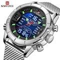 Naviforce relógios masculinos de luxo da marca dos esportes dos homens relógios de quartzo led digital masculino relógio de pulso militar de aço completo