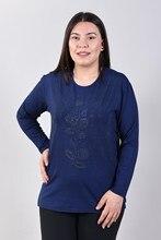 Women Large Size Front Floral Print Navy Blue Blouse 2021