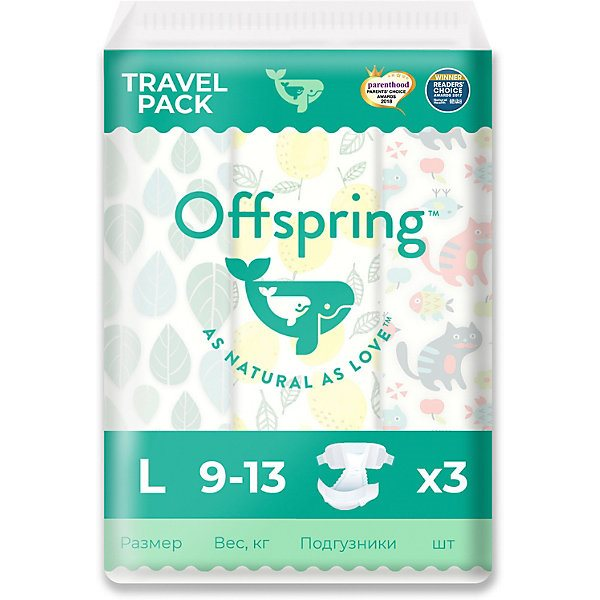 Eco Friendly Diapers Offspring L 9-13 Kg 3 Pcs