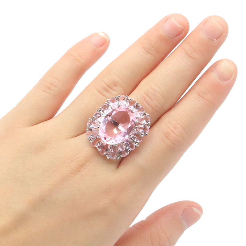 27x22mm Elegant Created 18x13mm Pink Kunzite Spinel Iolite SheCrown Gift For Woman's Silver Rings