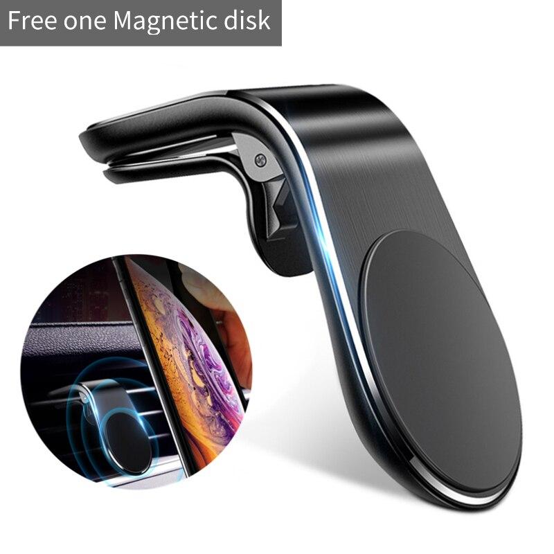 L-Vormige Magnetische Auto Bracket Air Outlet Sterke Magneet Mobiele Telefoon Beugel Universele Metalen Beugel Auto-onderdelen Hoge Kwaliteit