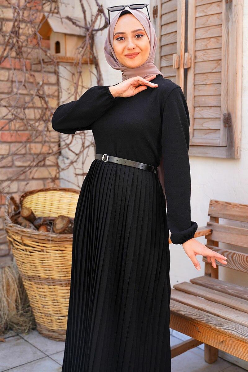 kemerli-model-etegi-piliseli-siyah-triko-elbise-triko-elbise-hbs-210432-45-B