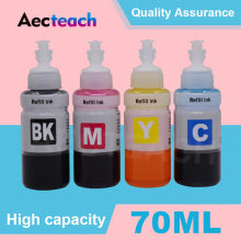 Aecteach 4 Color × 70ml Printer Ink Refill Kit Compatible For Epson L100 L110 L366 L550 L555 L566 L132 L200 L210 L222 L300 L362(China)