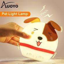 LED Night Light Pat Light Lamp Touch Night Lights Mini Tabletop Lamp Touch Sensor Multi Color Mode Cute Cartoon Dog BED Lamp