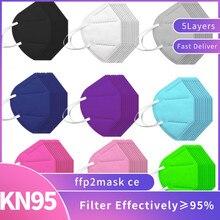 Masques respirants pour femmes et hommes, lot de 20 ou 50 pièces, modèle kn95, fpp2