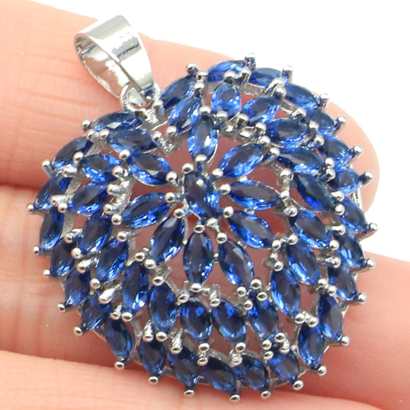 40x28mm 2019 New Arrival Heart Shape Created Tanzanite Smokey Topaz Gift For Woman's Silver Pendant