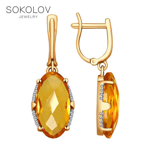 Drop Earrings With Stones With Stones With Stones With Stones With Stones With Stones With Stones With Stones With Stones With Stones SOKOLOV Gold With Cubic Zirconia And Citrine Fashion Jewelry 585 Women's Male
