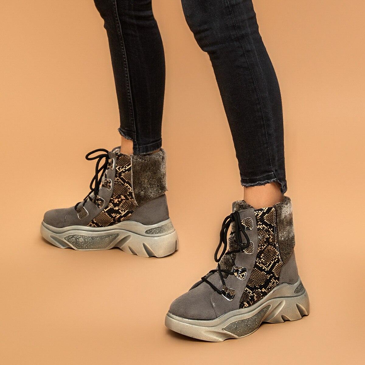 FLO PRATO Gray Women 'S Thick Soled Boots BUTIGO