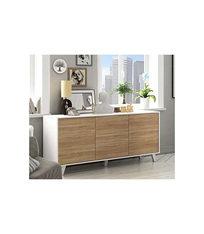 Dresser 3 Doors Stylus Plus In White Gloss And Oak Canadian