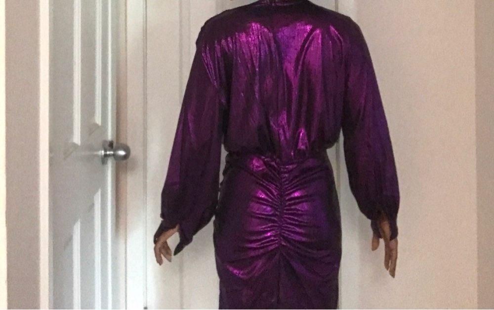 Women Metallic Plunge Party Dress Sexy Deep V Neck Dresses Mini Bodycon Irregular Short Mini Club Dress photo review