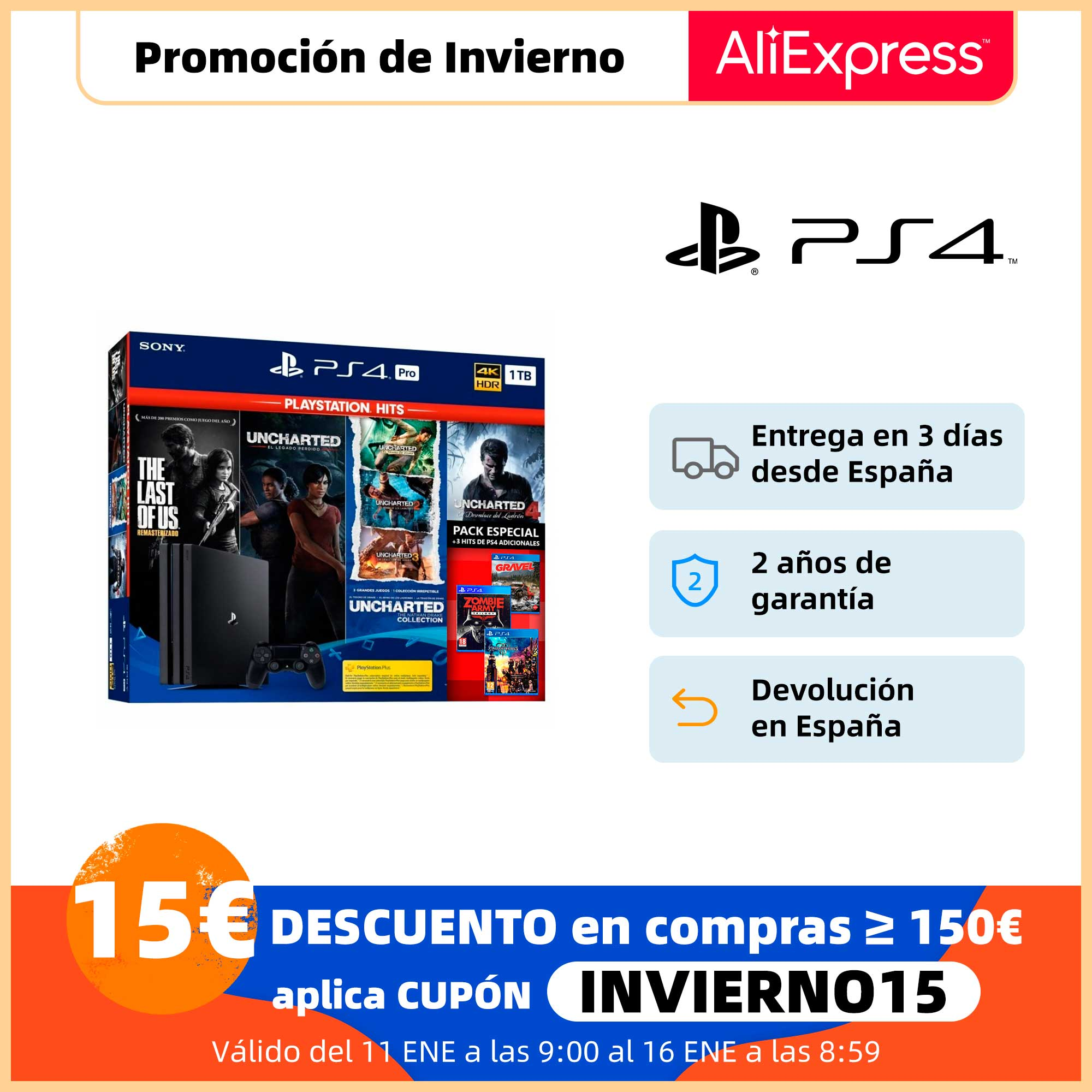 Consola Sony PS4 Pro 1TB Pack Especial (Last Of Us Uncharted Collection Gravel Zombie Army Trilogy Kingdom Hearts 3)|Consolas de videojuegos| - AliExpress