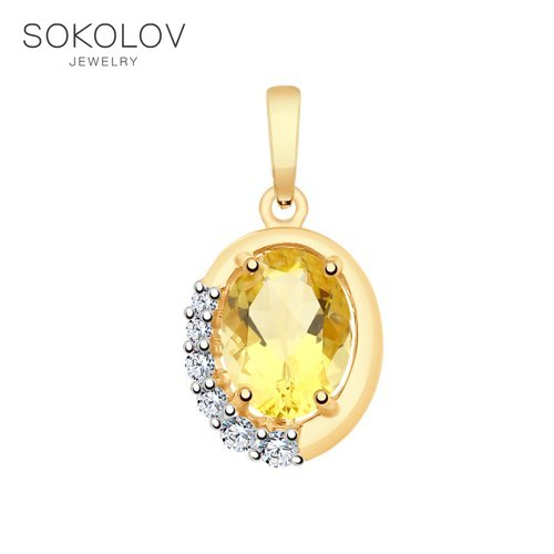 Pendant SOKOLOV Gold Citrine And Cubic Zirkonia Fashion Jewelry 585 Women's Male