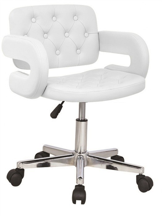 Armchair PARADISE (L), Rotating, Chrome Finish, Upholstered White