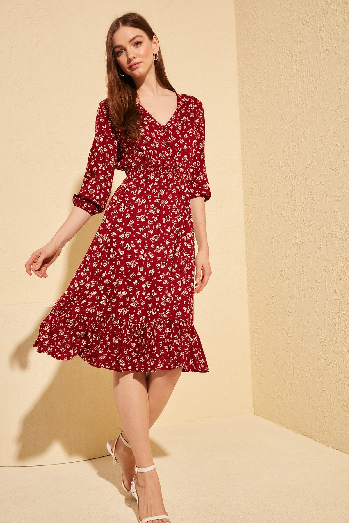 Trendyol Flowering Button Dress TWOSS20EL0577