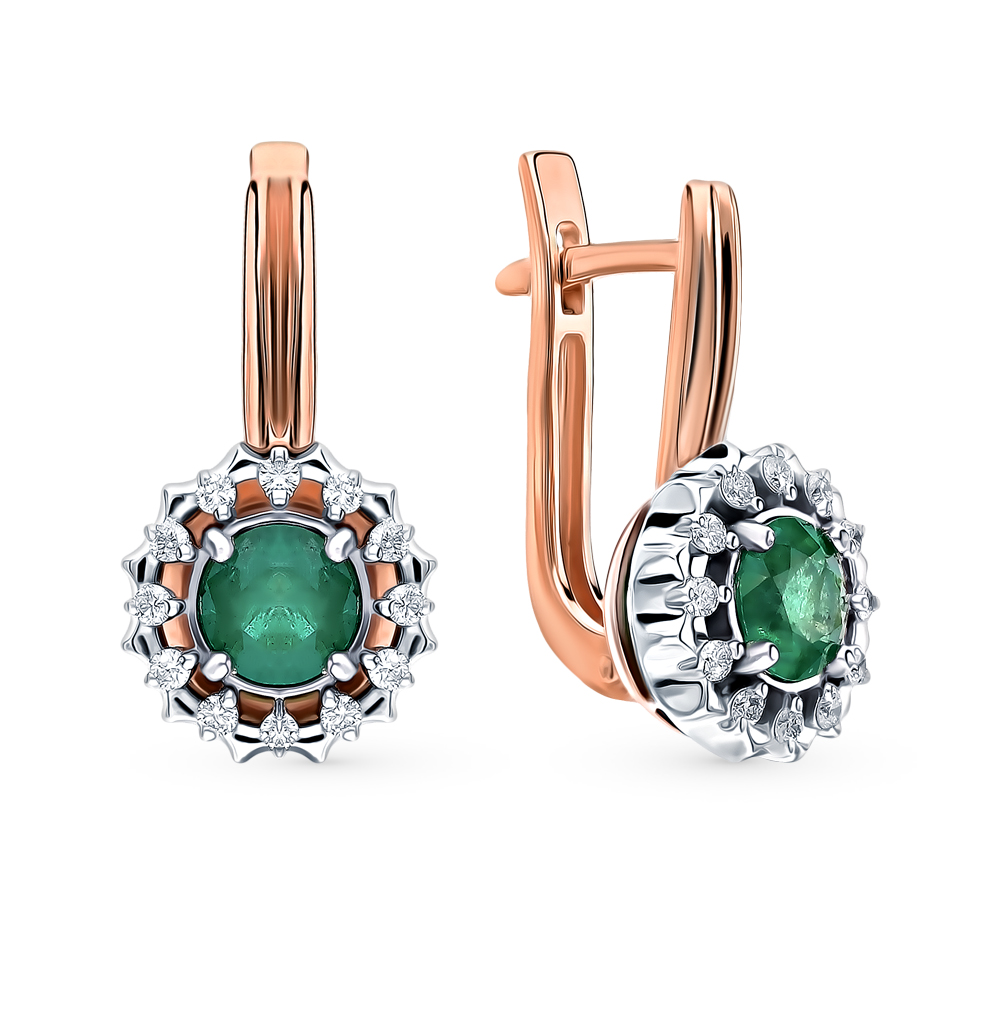 Gold Earrings With Emeralds And Diamonds Sunlight Sample 585