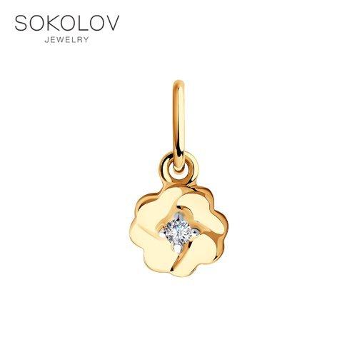 Pendant SOKOLOV Gold With Cubic Zirconia Fashion Jewelry 585 Women's/men's, Male/female