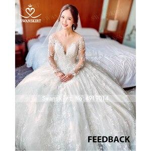 Image 3 - Long sleeves Ball Gown Wedding Dress Swanskirt K185 Sweetheart Appliques Lace Chapel Train Princess Bride Gown Vestido de Noiva