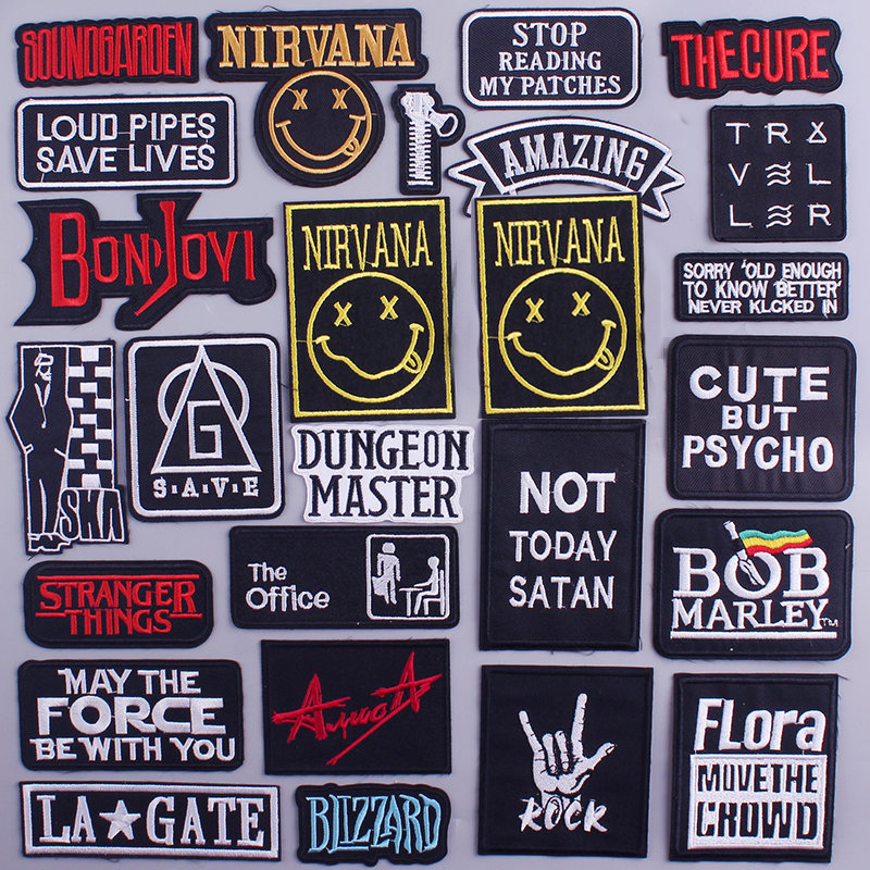 Letter Patch Letter Rock Embroidery Patches For Clothes Diy Iron On Stripes Nirvana Patches For Jacket Clothing Applique Badges Big Deal 361d Cicig
