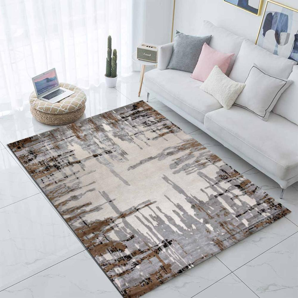 Else Gray Brown Nordec Scandinavian Lines 3d Print Non Slip Microfiber Living Room Decorative Modern Washable Area Rug Mat