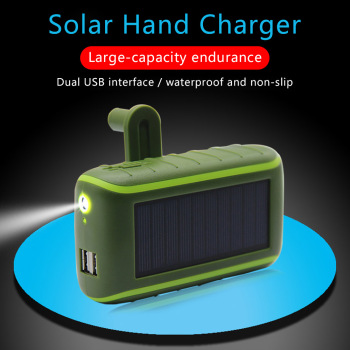 Multifunctional Solar Power Bank 6000/8000mAh Hand Crank Dynamo Powered Double USB Outdoors Solar Portable Charger PoverBank 1