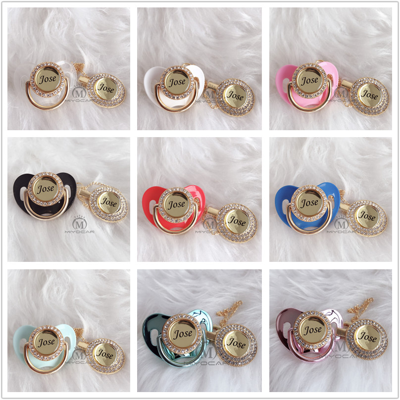 Image 4 - MIYOCAR Personalized any name can make silver bling pacifier and pacifier clip BPA free dummy bling unique design P9-in Pacifier from Mother & Kids