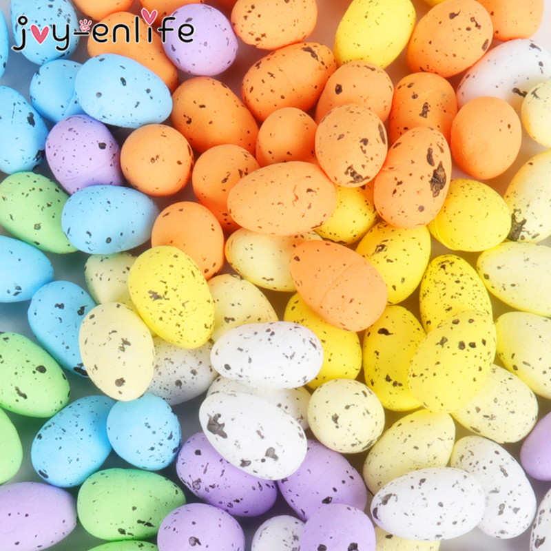 20/40pcs 3x4cm Painted Foam Bird Pigeon Eggs Happy Easter Colorful Easter Egg Decoration Home Festival Ornament Kids Gift Favor