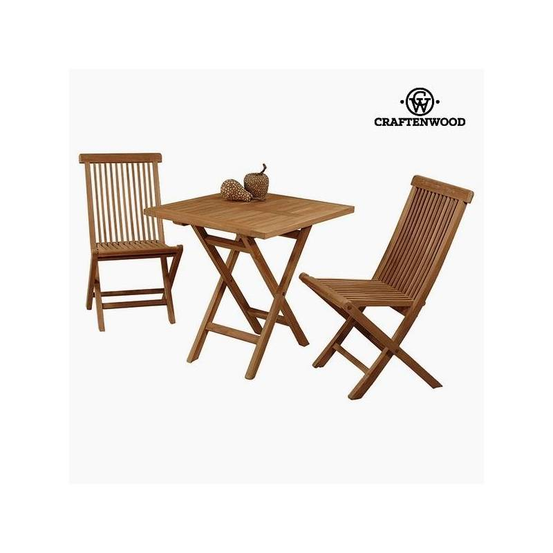 Table With 2 Chairs Teak Wood (70x70x77 Cm) By Craftenwood