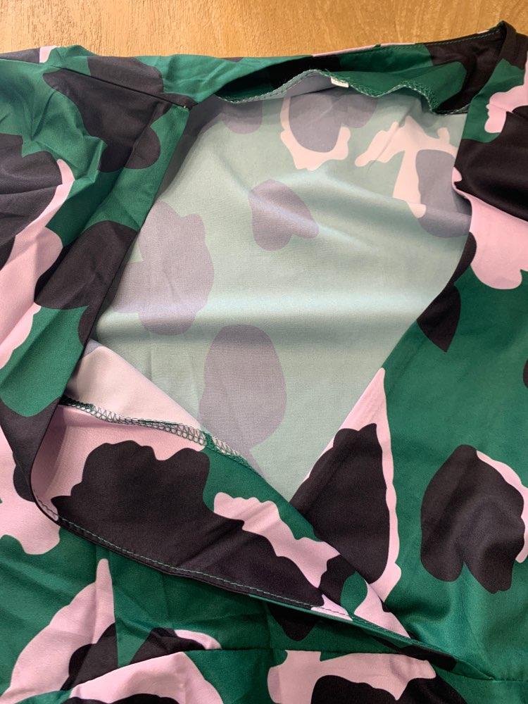 SparkDora HOT 2020 tik-tok Big V  Spring European And American Green Cake Dress Tower Dress Flower Printed V-neck Fashion Dress reviews №3 135858