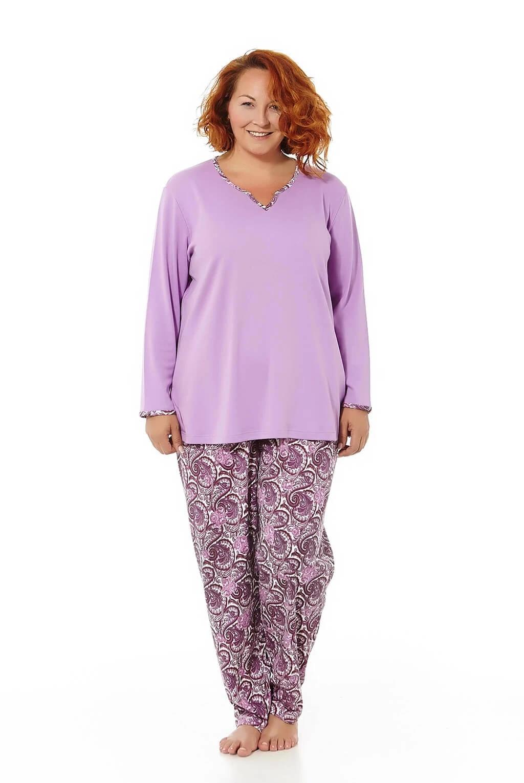 Mabel Intima Pijama Mujer Manga Larga Color Lila Y Pantalon Estampado Tallas Grandes Sets De Pijamas Aliexpress