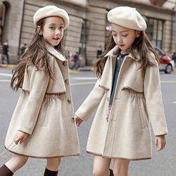 2020 겨울 10 대 소녀 롱 자켓 유아 어린이 겉옷 캐주얼 아동 따뜻한 모직 트렌치 코트 틴 의상 12 14