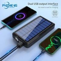 PINZHENG Universal Own Line Solar Power Bank 20000mAh LED Light External Battery Mobile iPhone Wireless Powerbank For iPhone 11