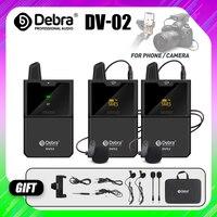 Micrófono Lavalier inalámbrico DV01/02, con función de Monitor de Audio, UHF, Lapel, para teléfonos inteligentes, cámaras DSLR, Webcast