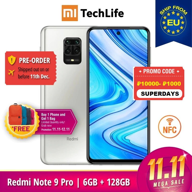 Global Version Xiaomi Redmi Note 9 Pro 6GB RAM 128GB ROM (Brand New / Sealed) , Smartphone mobile