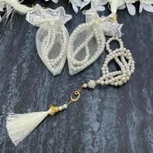 Tasbeeh 30 pçs conjunto de ouro branco tasbih pérola oração tesbih islâmico casamento henna eid presentes ameen mubarek muçulmanos favores 99 contas