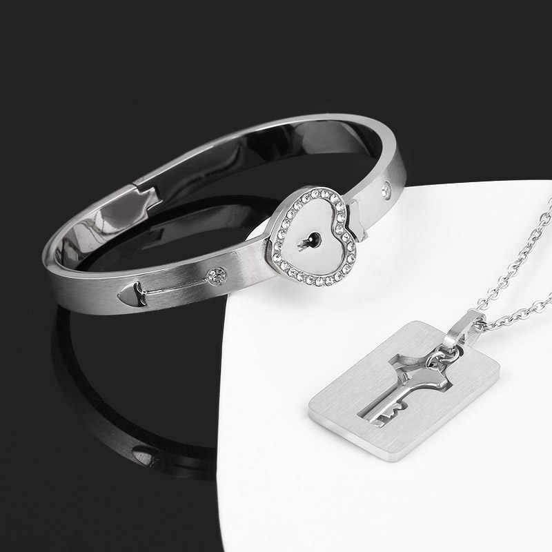 Sg um conjunto amante colares rainha rei bracelete pingentes cupido para sempre amor coração bloqueio chave casal pulseira de aço inoxidável jóias