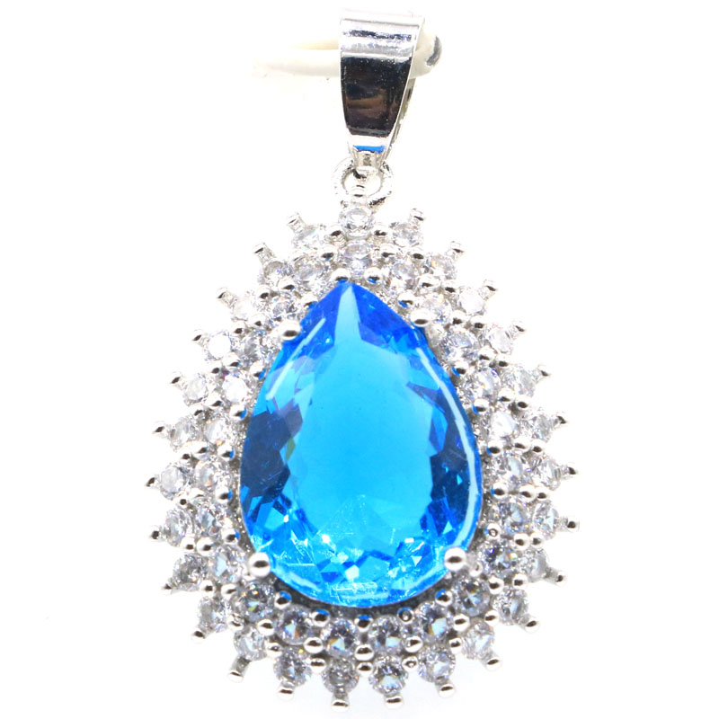 35x22mm Beautiful Created Blue Topaz White CZ Woman's Wedding Silver Pendant