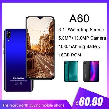 Перейти на Алиэкспресс и купить Blackview A60 1 Гб + 16 Гб мобильные телефоны 4080 мАч 13мп камера Сотовый телефон четырехъядерный Android 8,1 3G смартфон 6,1 ''разблокировка телефон WiFi
