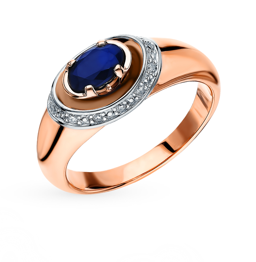 Gold Ring With Sapphires And Diamonds SUNLIGHT Test 585