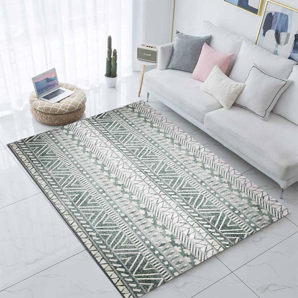 Else Gray Black Morrocan Boho Ethnic 3d Print Non Slip Microfiber Living Room Modern Carpet Washable Area Rug Mat
